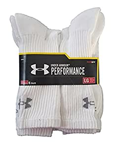 Under Armour Unisex-Adult Mens Under armour Charged Cotton 2.0 Crew 6 Pack U322-P, Mens, White, 2 Pack (12 Pair) Medium