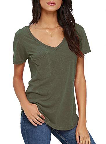 TASAMO Women's Summer Casual Sexy Short Sleeve V Neck Patch Pocket Slub Texture Tee Loose Top Tshirt (X-Large, Green)