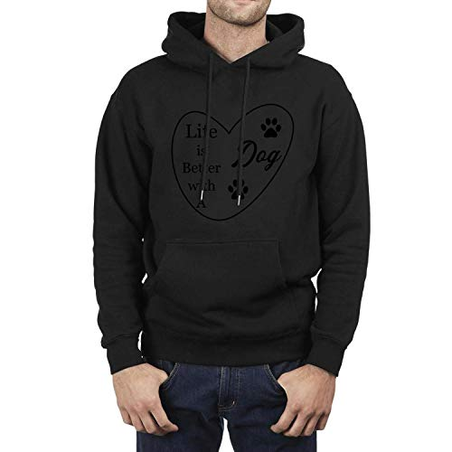(DFHho Life is Better with A Dog Hoodies for Mens Fashion Fleece Sweatshirts Black Pullover Hoodie with Novelty Designs)