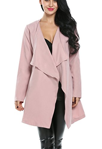 ACEVOG Women Long Sleeve Duster Lightweigtht Robe Tie-Belt Drape Coat Slim Fit (Medium, Pink)