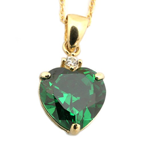 14k Yellow Gold Simulated Birthstone and Cubic Zirconia Heart Pendant Necklace