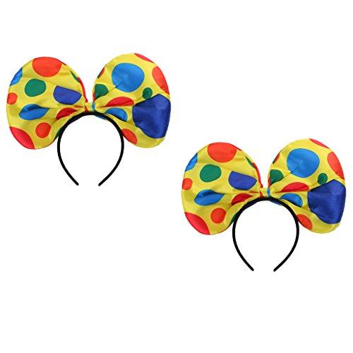 (Dovewill 2pcs Christmas Festive Polka Dots Clown Hat Headband Circus Jester Costume Fancy Dress Party Hairband)