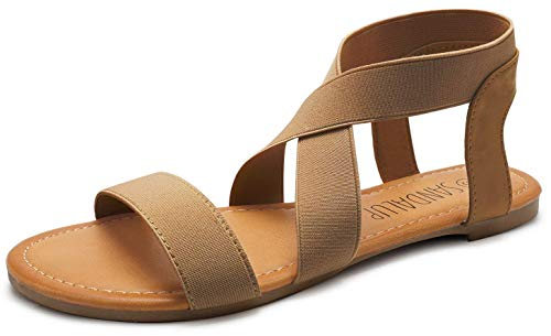 SANDALUP Elastic Ankle Strap Flat Sandals for Women Brown 10