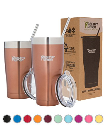 Healthy Human Insulated Tumbler Cruisers with Stainless Steel Straw & Clear Lid - Keeps Hot & Cold Beverages 2 Times Longer - Vacuum Double Walled Thermos 32 oz. Sunset Gold (With Oz Tumblers 12 Plastic Lids)