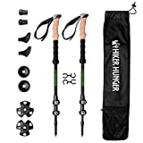 Hiker Hunger 100% Carbon Fiber Trekking Pole 2.0 Ultralight Weight, Collapsible, Durable Metal Screw Flip Lock and Newly Designed Carry Bag Zip Pocket for Accessories   USA Based Outdoor Brand