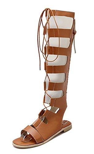 Aisun Femmes Sexy Évider Lace Up Auto Gilly Cravate Gladiateur Plat Sous Le Genou Hautes Sandales Chaussures Marron