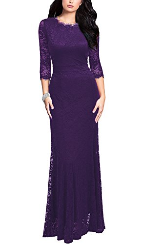REPHYLLIS Women's Retro Floral Lace Vintage Bridesmaid Wedding Long Dress (Large, Purple)