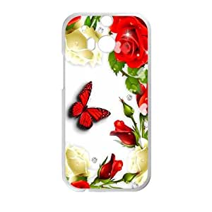 Butterfly Print HTC One M8 Cell Phone Case White Uewpc