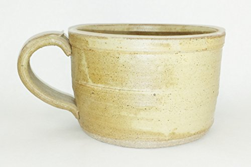Aunt Chris' Pottery - Hand Made Clay - Soup Bowl - With Handle - You Can Spoon It Out - Drink It Right Of The Bowl - Goats Milk Glazed - Microwave, Oven And Dishwasher Safe by dist by American mud products