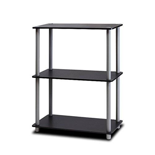 Furinno 10024BK/GY Turn-N-Tube 3-Tier Compact Multipurpose Shelf Display Rack, (3 Shelf)