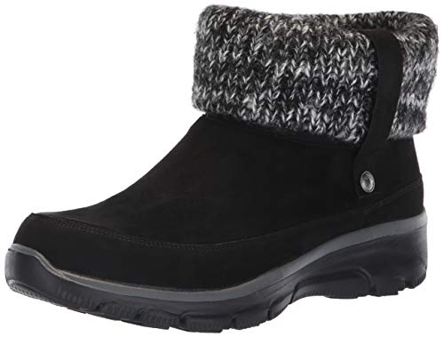 Skechers Women's Easy Going-Heighten-Foldover Knit Collar Boot Ankle, Black, 6.5 M US (Outdoor Casual)