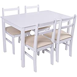 Giantex 5 Pcs Pine Wood Dining Set Table And 4 Upholstered Chair Breakfast Furniture (White)