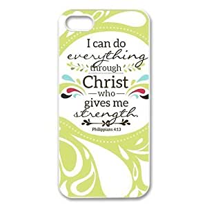 @ALL Bible Verse Philippians 4:13 Cover Case For Iphone 5s for you(Black) with Best Silicon Rubber