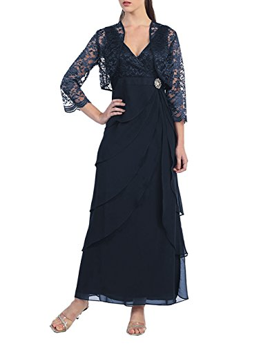 Mother Dress Formal Dressyu Bride Lace of the Navy Long Chiffon Gowns Jacket with OWq1nqxE