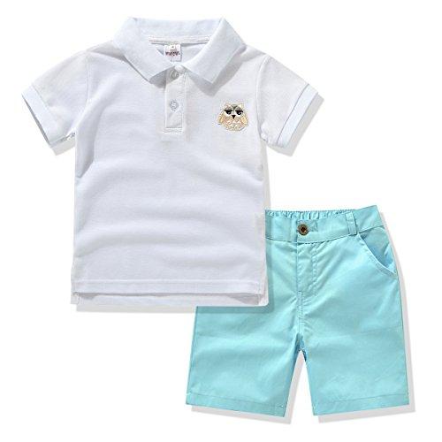 Miniowl Little Boys' 2pcs Shorts Set Polo T-shirt with Elastic Waistband Shorts (4t, White) 2 Side White T-shirt