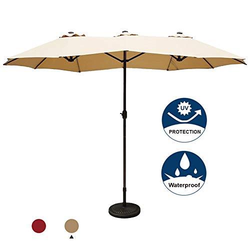 Aok Garden 15 ft Market Outdoor Umbrella Double-Sided Aluminum Table Patio Umbrella with Crank,Orange