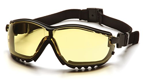 Pyramex V2G Safety Glasses, Black Frame/Amber Anti-Fog Lens