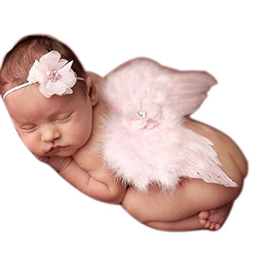[Newborn Baby Girl&Boy Feather Angel Wings Costume Photo Prop Outfits Costume (Pink)] (Angel Fancy Dress)