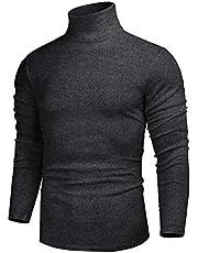 iWoo Långärmad polotröja för män lätt topp pullover slim fit tröjor