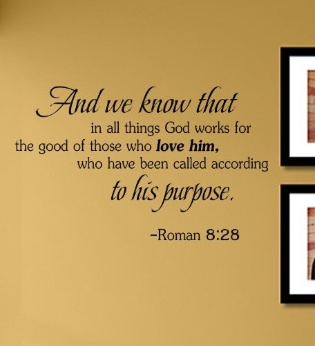 And we know that in all things God works for the good of those who love him, who has been called according to his purpose. Roman 8:28 Vinyl Wall Decals Quotes Sayings Words Art Decor Lettering Vinyl Wall Art Inspirational Uplifting