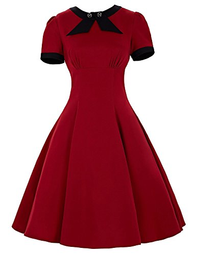 Belle-Poque-Womens-Short-Sleeve-Bow-Knot-1950s-Cocktail-Swing-Dress-BP68