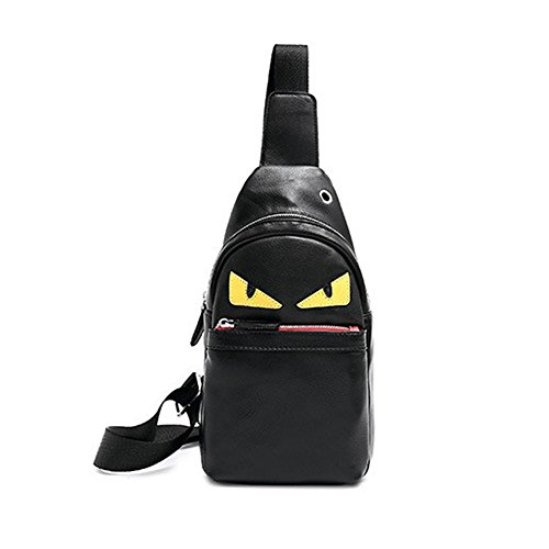 Aliceherry PU Leather Cross Body Shoulder Cute Monster Chest Bag for Outdoor (Black) ()