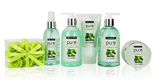 Cooling Cucumber Complete Spa-At-Home Kit! Full Sized Bottles for Hydrated & Glowing Skin!