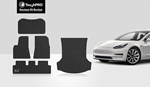 ToughPRO Tesla Model 3 Floor Mats Set and Frunk &Trunk Mat Set - All Weather - Heavy Duty - Black Rubber -2018 Mat Model