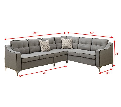 Poundex F6888 Bobkona Adalia Sectional Set, Light Grey - 3-Seater can be on the right or left side Seat Cushion Filled with foam and inner Spring for durability and comfort Interlocking insert to keep all pieces together - sofas-couches, living-room-furniture, living-room - 41wSUhWBnsL -