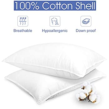 LANGRIA Down Alternative Bed Pillows Queen 100% Cotton Cover Soft Hypoallergenic Dust-Mite Resistant, White, 20'' x 30'' (2 Pack)