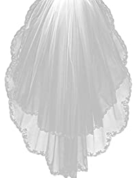 Womens 2T Tulle Wedding Bridal Veil With Floral Beaded Edge