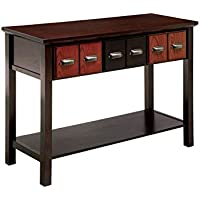 Furniture of America Jame Vintage Console Table in Walnut and Oak