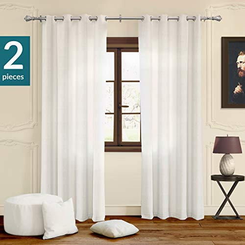 (Chicology Curtain Panels, Grommet Top Window Drapes, Virginia White (Privacy & Light Filtering) - 52