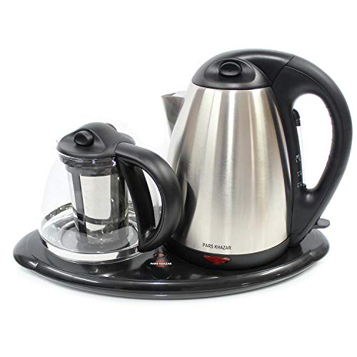 PARS KHAZAR Electric Kettle and Tea Maker Set Stainless Steel & Glass & Keep Tea Warm Tray