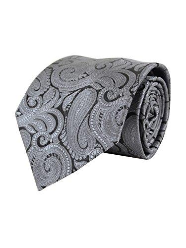 Men's Gray Paisley 100% Microfiber Poly Woven Wedding Neck Tie