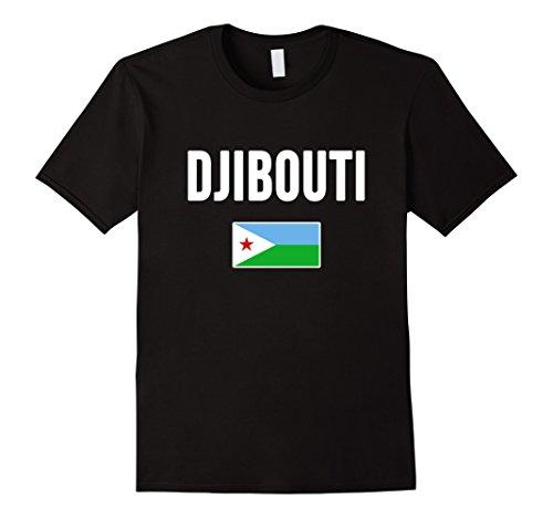 Mens Djibouti T-shirt Djiboutian Flag . Medium Black