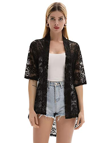 Lace Cardigan Sweater - GRACE KARIN High Stretchy Open Front Floral Lace Cardigan Sweater Black Size M CL964-1