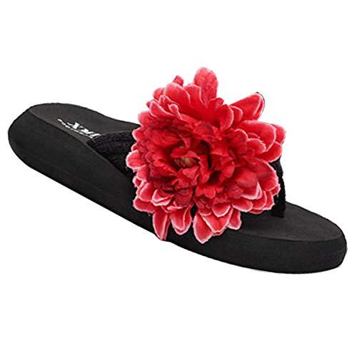Fleurs YOUJIA Noir Plage 4 Compensées Sandales Boho été Rouge Femmes Tongs Plateforme ZExHnErq4w
