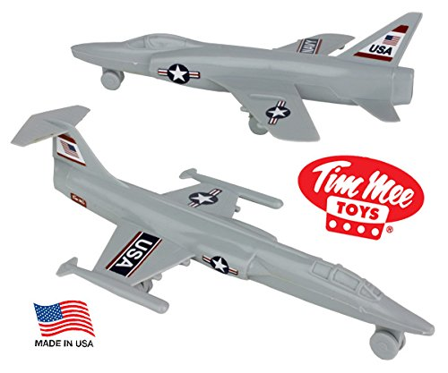 (TimMee Plastic Army Men COLD WAR FIGHTER JETS - Gray Airplanes - Made in USA)