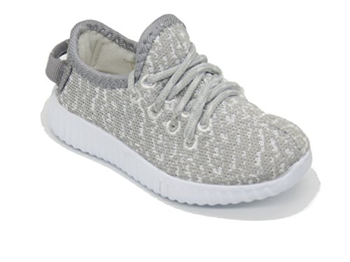 EASY21 Boy's and Girls' EASY33F Breathable Fashion Sneakers Casual Slip-on Loafers Running Shoes (Toddler),Grey,Size 7