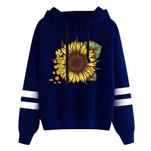 kaifongfu Sunflower Print Long Sleeve Sweatshirt Hoodies Womens Pullover Tops Blouse Blue (Kleidung Kurze Frauen)