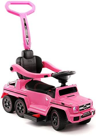 Moderno Kids Mercedes G63 AMG 6X6 Toddler Push Car Stroller Convertible to Foot to Floor Toy or Battery Powered Children Electric Ride On + Integrated MP3 Music Player + Working LED Lights (Pink)