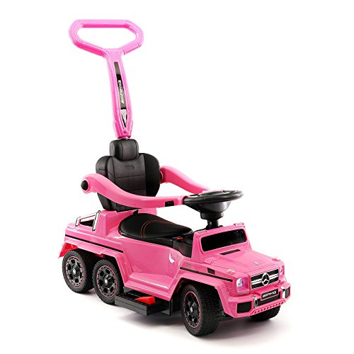 Moderno Kids Mercedes G63 AMG 6X6 Toddler Push Car Stroller Convertible to Foot to Floor Toy or Battery Powered Children Electric Ride On + Integrated MP3 Music Player + Working LED Lights (Pink) (Best Stroller For Three Kids)