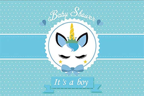 (LFEEY 10x7ft Eye Closed Unicorn Head Baby Shower Photo Backdrop Boy Small White Dots Newborn Gender Reveal Party Blue Photography Background Screen Vinyl Photo Studio Props)