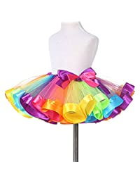 TRADERPLUS Little Girls Layered Rainbow Ribbon Tutu Skirt Dress Ballet Tiered
