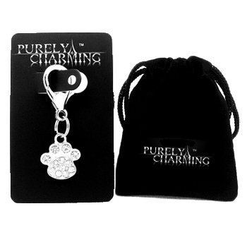 PURELY CHARMING Pet Charm / Pendant with Handset Swarovski Crystals – Paw / Dog Pawprint, My Pet Supplies