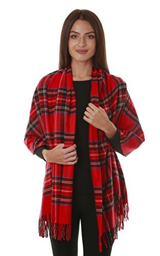 GILBIN'S Big Winter Warm Tartan Checked Cashmere Feel Shawl Blanket Scarf 80'' x 30'' Red