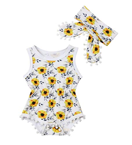 Newborn Kids Baby Girls Clothes Floral Jumpsuit Romper Playsuit + Headband Outfits (12-18 Months, Yellow 2)