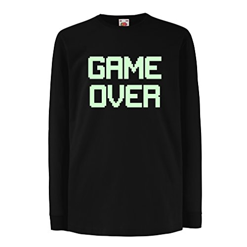 T-Shirt For Kids Game Over! Vintage t Shirts Funny Gamer Gifts Gamer Shirt (14-15 Years Black Fluorescent)