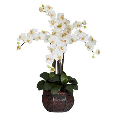 Wholesale Cream Phalaenopsis w/Decorative Vase Silk Flower Arrangement, [Decor, Silk Flowers]